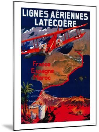 Lignes Aeriennes Latecoere Vintage Poster - Europe-Lantern Press-Mounted Art Print