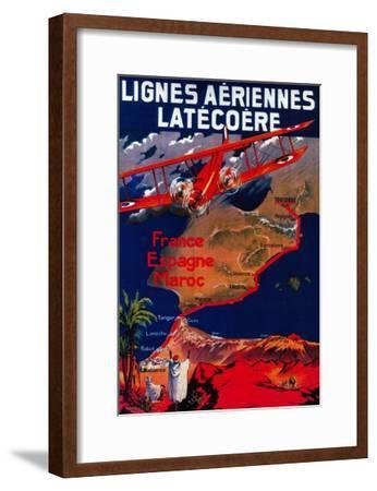 Lignes Aeriennes Latecoere Vintage Poster - Europe-Lantern Press-Framed Art Print