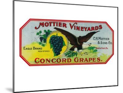 Eagle Grapes Label - North East, PA-Lantern Press-Mounted Art Print