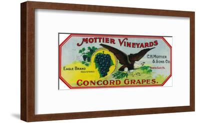 Eagle Grapes Label - North East, PA-Lantern Press-Framed Art Print