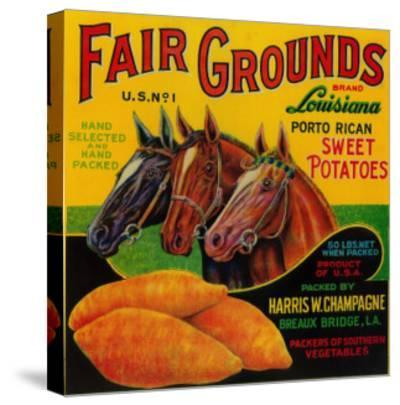 Fair Grounds Yam Label - Breaux Bridge, LA-Lantern Press-Stretched Canvas Print