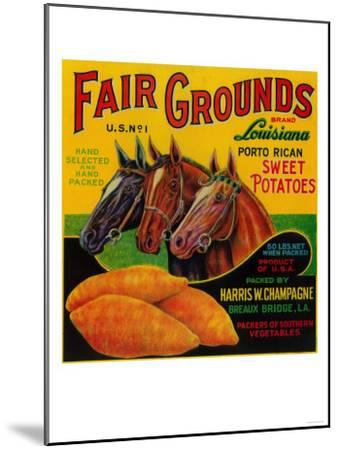 Fair Grounds Yam Label - Breaux Bridge, LA-Lantern Press-Mounted Art Print