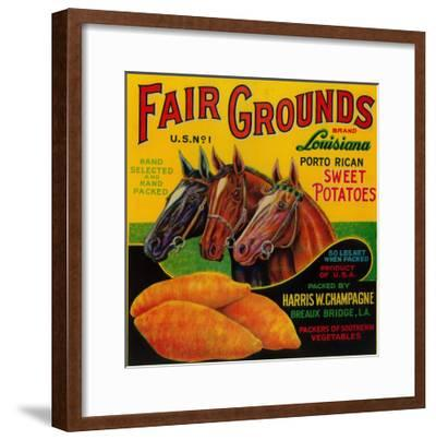 Fair Grounds Yam Label - Breaux Bridge, LA-Lantern Press-Framed Art Print