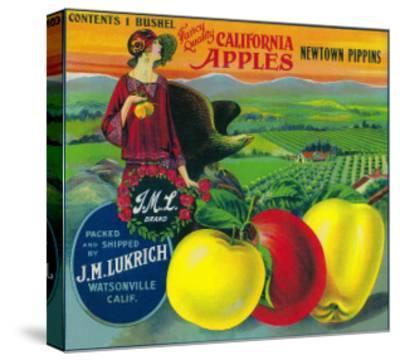 J.M.L. Apple Crate Label - Watsonville, CA-Lantern Press-Stretched Canvas Print