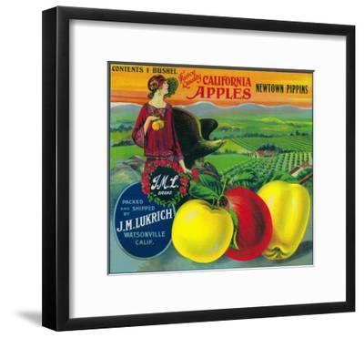 J.M.L. Apple Crate Label - Watsonville, CA-Lantern Press-Framed Art Print
