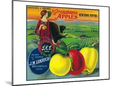 J.M.L. Apple Crate Label - Watsonville, CA-Lantern Press-Mounted Art Print