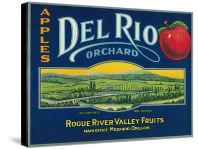 Del Rio Apple Crate Label - Medford, OR-Lantern Press-Stretched Canvas Print