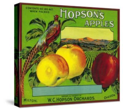 Hopson's Apple Crate Label - Milton, WA-Lantern Press-Stretched Canvas Print