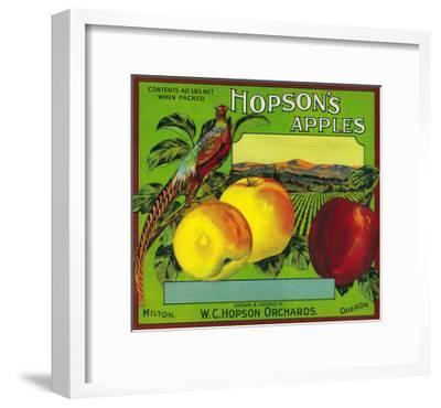 Hopson's Apple Crate Label - Milton, WA-Lantern Press-Framed Art Print