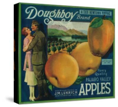 Doughboy Apple Crate Label - Watsonville, CA-Lantern Press-Stretched Canvas Print