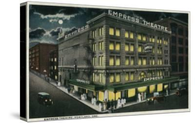 Empress Theatre in Portland, Oregon - Portland, OR-Lantern Press-Stretched Canvas Print