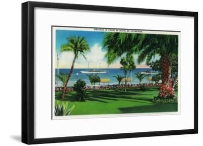 Grounds in front of Hotel St. Catherine - Catalina Island, CA-Lantern Press-Framed Art Print