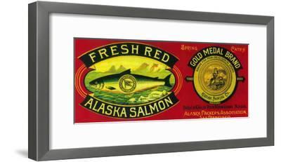 Gold Medal Salmon Can Label - Kodiak Island, AK-Lantern Press-Framed Art Print