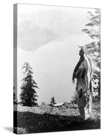 Indian Praying to the Spirits at Crater Lake, OR Photograph - Crater Lake, OR-Lantern Press-Stretched Canvas Print