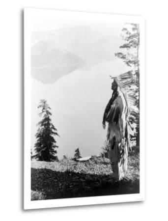 Indian Praying to the Spirits at Crater Lake, OR Photograph - Crater Lake, OR-Lantern Press-Metal Print