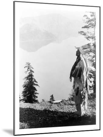 Indian Praying to the Spirits at Crater Lake, OR Photograph - Crater Lake, OR-Lantern Press-Mounted Art Print