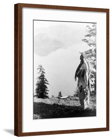 Indian Praying to the Spirits at Crater Lake, OR Photograph - Crater Lake, OR-Lantern Press-Framed Art Print