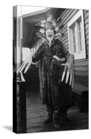 Eskimo Medicine Man and Sick Boy in Alaska Photograph - Alaska-Lantern Press-Stretched Canvas Print