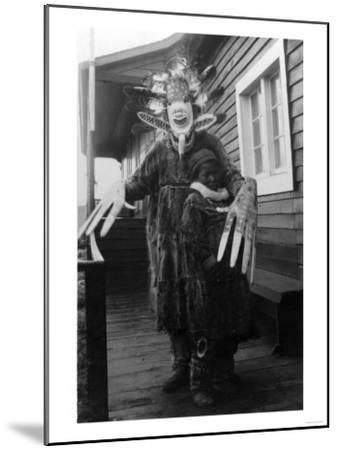 Eskimo Medicine Man and Sick Boy in Alaska Photograph - Alaska-Lantern Press-Mounted Art Print