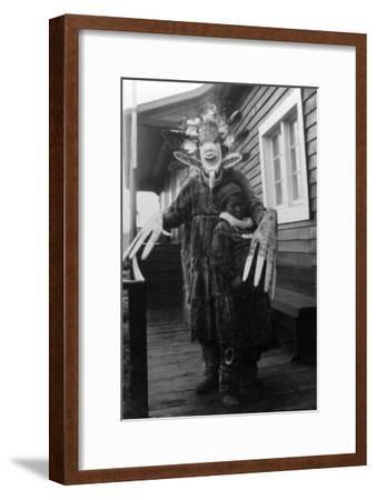 Eskimo Medicine Man and Sick Boy in Alaska Photograph - Alaska-Lantern Press-Framed Art Print