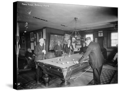Group of Gentlemen Playing Pool at Billiards Hall Photograph-Lantern Press-Stretched Canvas Print