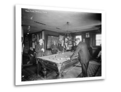 Group of Gentlemen Playing Pool at Billiards Hall Photograph-Lantern Press-Metal Print