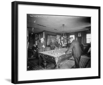 Group of Gentlemen Playing Pool at Billiards Hall Photograph-Lantern Press-Framed Art Print