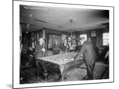 Group of Gentlemen Playing Pool at Billiards Hall Photograph-Lantern Press-Mounted Art Print