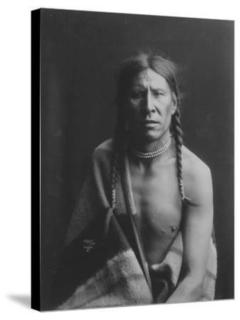 Heavy Shield Native American Indian Curtis Photograph-Lantern Press-Stretched Canvas Print