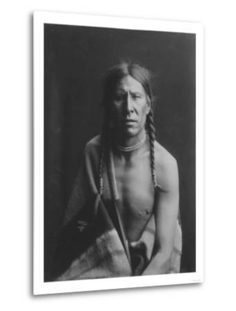 Heavy Shield Native American Indian Curtis Photograph-Lantern Press-Metal Print