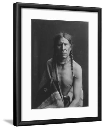 Heavy Shield Native American Indian Curtis Photograph-Lantern Press-Framed Art Print