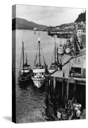 Fishing Boats along shore in Southeastern Alaska Photograph - Alaska-Lantern Press-Stretched Canvas Print