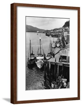 Fishing Boats along shore in Southeastern Alaska Photograph - Alaska-Lantern Press-Framed Art Print