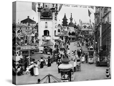 Luna Park and Rides at Coney Island, NY Photograph - Coney Island, NY-Lantern Press-Stretched Canvas Print