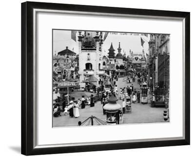 Luna Park and Rides at Coney Island, NY Photograph - Coney Island, NY-Lantern Press-Framed Art Print