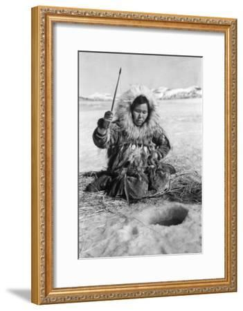 Eskimo Woman Fishing through Ice in Alaska Photograph - Alaska-Lantern Press-Framed Art Print