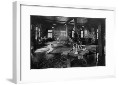 Lake Crescent Tavern Lobby Washington Photograph - Lake Crescent, WA-Lantern Press-Framed Art Print