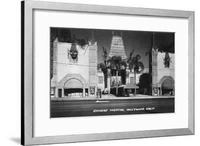 Hollywood, California Chinese Theatre View Photograph - Hollywood, CA-Lantern Press-Framed Art Print