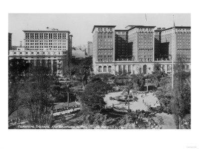 Los Angeles, CA Perishing Square and Biltmore Hotel Photograph - Los Angeles, CA-Lantern Press-Framed Art Print