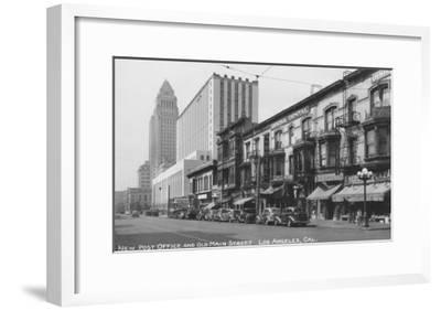 Los Angeles, CA Post Office and Old Main Street Photograph - Los Angeles, CA-Lantern Press-Framed Art Print