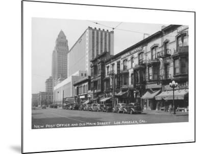 Los Angeles, CA Post Office and Old Main Street Photograph - Los Angeles, CA-Lantern Press-Mounted Art Print