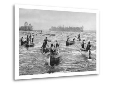 Indians Fishing in the Soo Canal Photograph - Michigan-Lantern Press-Metal Print