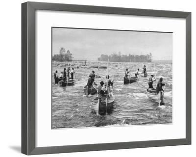 Indians Fishing in the Soo Canal Photograph - Michigan-Lantern Press-Framed Art Print