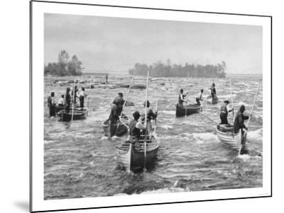 Indians Fishing in the Soo Canal Photograph - Michigan-Lantern Press-Mounted Art Print