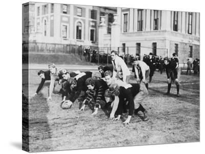 Columbia University Football Players Photograph - New York, NY-Lantern Press-Stretched Canvas Print