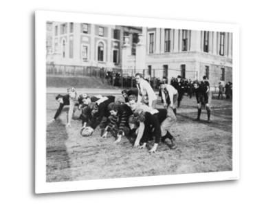 Columbia University Football Players Photograph - New York, NY-Lantern Press-Metal Print