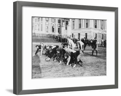 Columbia University Football Players Photograph - New York, NY-Lantern Press-Framed Art Print
