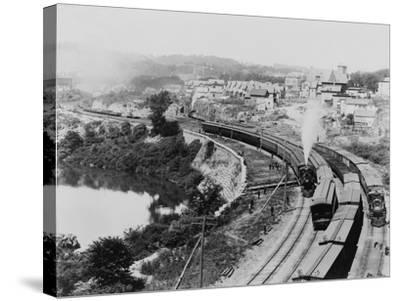 Four Trains Passing Little Falls Photograph - Colorado-Lantern Press-Stretched Canvas Print