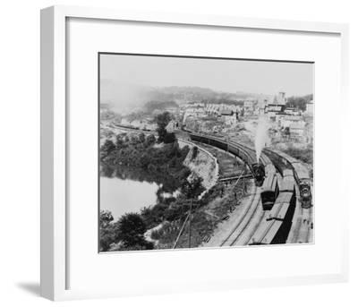 Four Trains Passing Little Falls Photograph - Colorado-Lantern Press-Framed Art Print