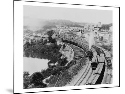Four Trains Passing Little Falls Photograph - Colorado-Lantern Press-Mounted Art Print